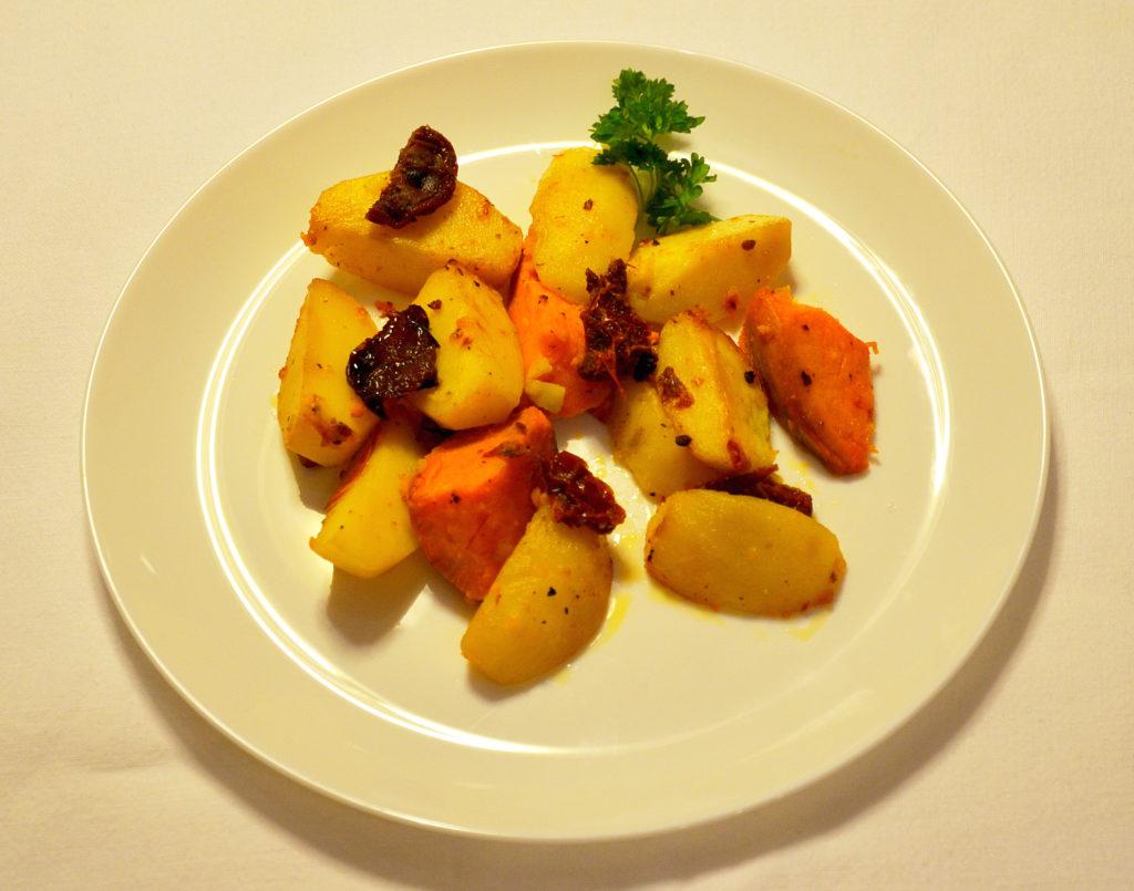 ziemniaki, bataty, suszone pomidory